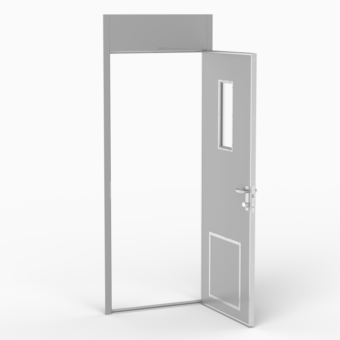 The MC door is an acoustic door with a sound reduction value (Rw) of 43 dB. Norac AS
